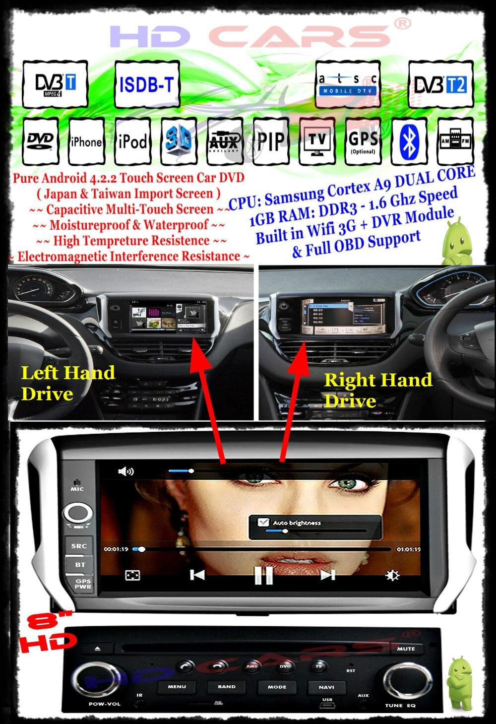 Fit for Peugeot 208 (RHD & LHD) RHD & LHD DVR+DTV+3G+WIFI+