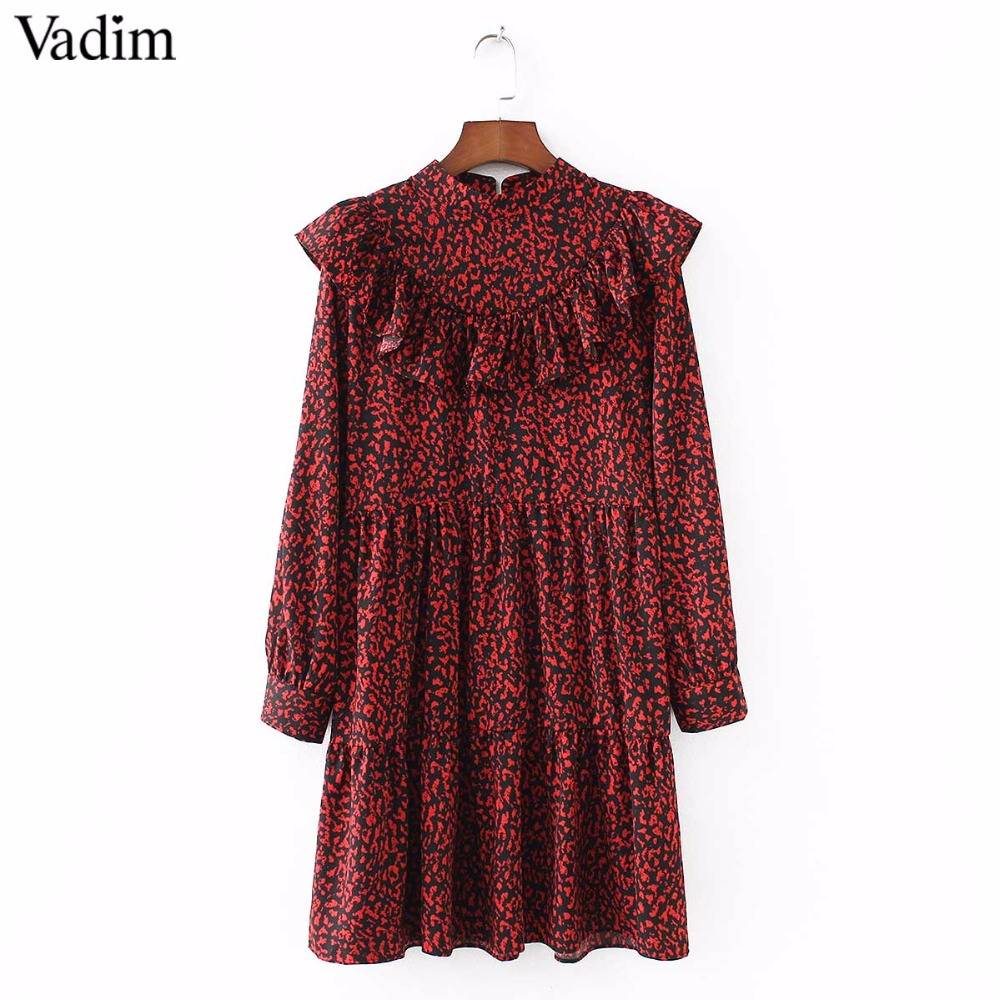 Vadim women vintage leopard dress sweet ruffles long sleeve o neck pleated female casual straight dress