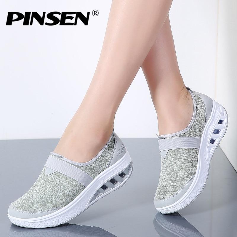 9ade9a522 PINSEN Outono Sneakers Mulheres Trepadeiras Sapatos de Plataforma Plana  Sapatos Casuais Mulher Tecido Respirável Slip-on Sapatos Femininos Zapatos  Mujer