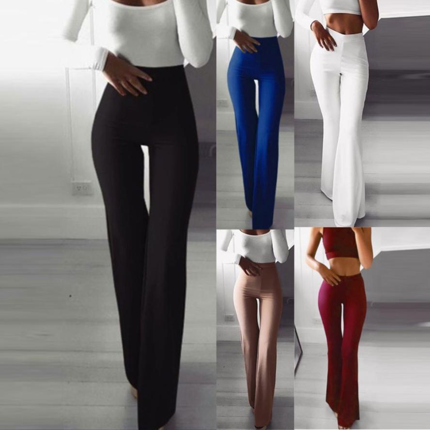 Summer Autumn Solid Elegant Female Lady Women's Palazzo Flared Wide Killer Legs Pants High Waist OL Ladies Career Long Trousers