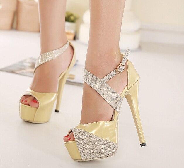 Zapatos dorados sexy para mujer teCfLda