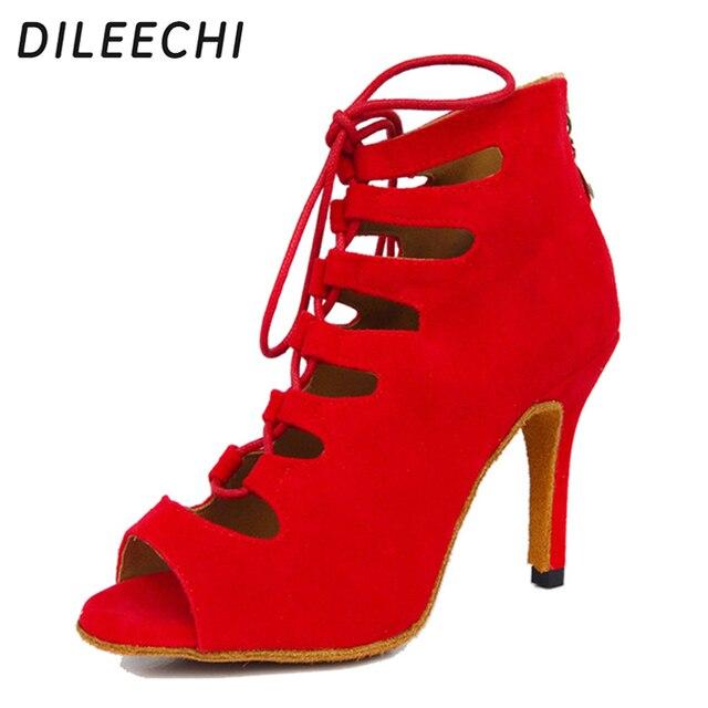 Dileechi sapatos de dança femininos, vermelho, azul, preto, veludo, sapatos de dança, festa de casamento, salsa, suave 8.5cm