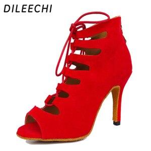 Image 1 - Dileechi新しい到着レッドブルーブラックベルベットかかとラテンダンスの靴女性のウェディングパーティーサルサダンスシューズ柔らかいアウトソール8.5センチ