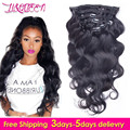 100% Brazilian Virgin Hair Body Wavy Clips In Human Hair Extensions 10pcs/set Full Head Natural Black 1B Clips Body Wave 120g