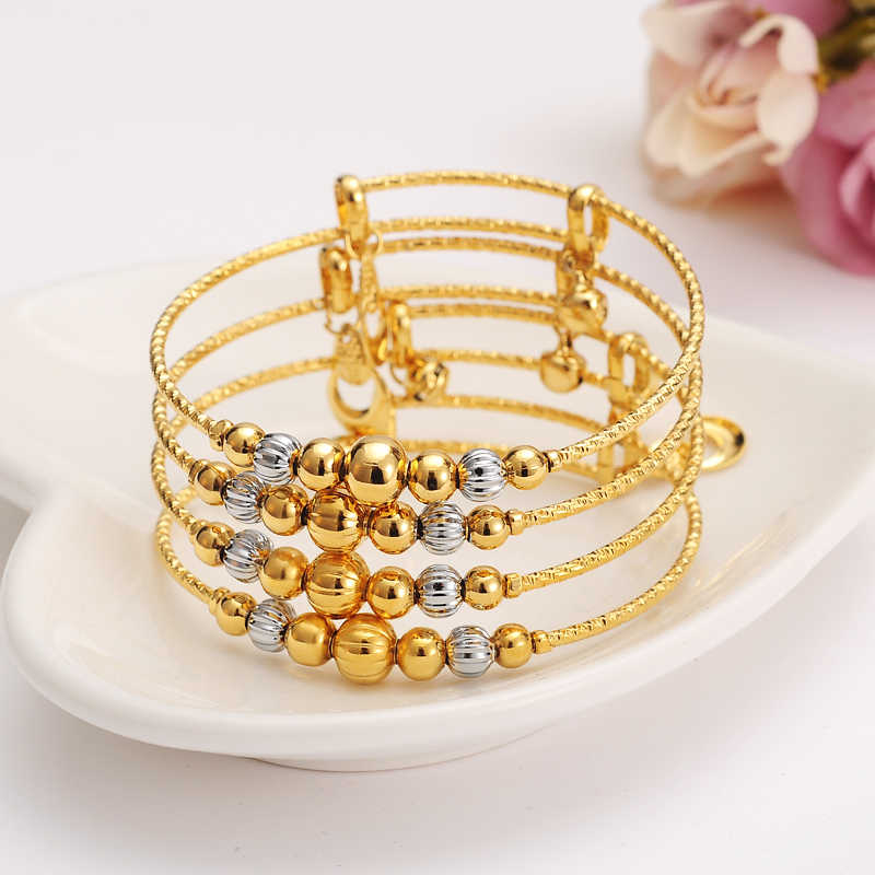 2pcs dubai Charm Bracelet for Women Gold silver ball beadsBangle cute bell kids girls women Hand Chain Jewelry anklets Arab gift