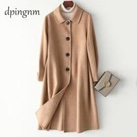 2019 UK Women Plus size Autumn Winter Cassic Simple Wool Maxi Long Coat Female Robe Outerwear manteau femme