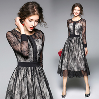 2018 New Spring Autumn Fashion Europe Women S Clothing Flowers Patchwork Lace Dress Sashes Hollow Out