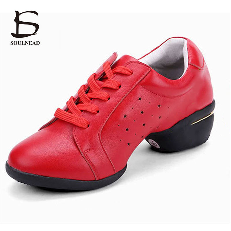 Genuine Leather Dance Sneakers Women Ladies Soft Sole Modern Jazz Hip Hop Dancing Shoes Black Red Fitness Practice Dance Shoes