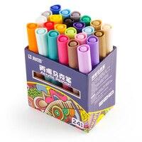 STA 24 Colores/Set Acrílico Paint Permanente rotulador de Porcelana Taza de Cerámica de Cristal De Roca De Madera Pintura de la Lona de Tela