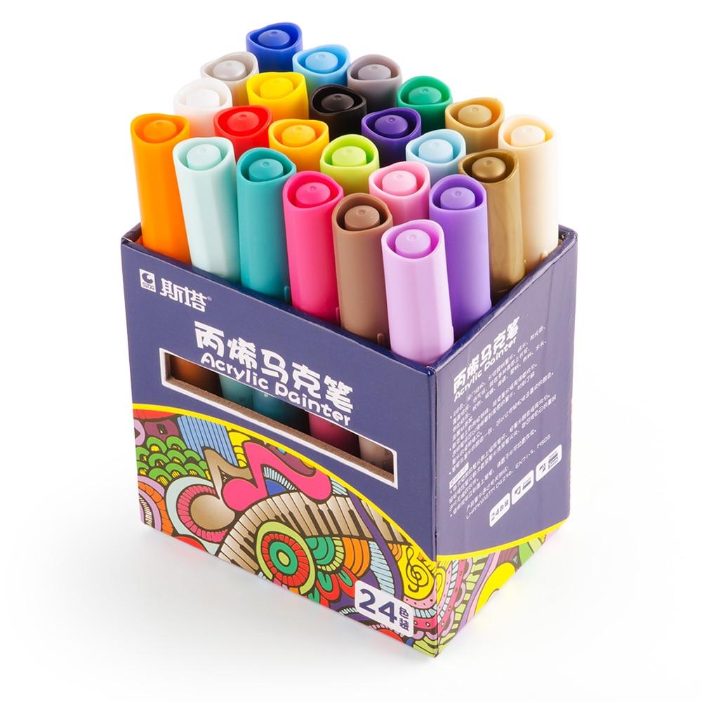 STA 24 Colors/Set  Acrylic Permanent Paint Marker pen for Ceramic Rock Glass Porcelain Mug Wood Fabric Canvas Painting