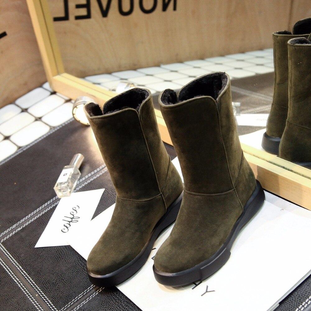 Medio Green Simple De Nieve Felpa Zapatos Redondo Dentro Del Egonery dark apricot Dedo Black Pie Mujer Bajo Tacón Invierno Estilo Gruesa Señoras Botas nYp5Uw1gq