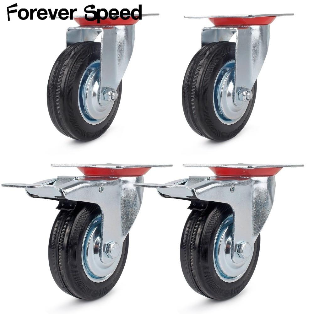 Roulette pour meuble 4 pièces robuste 200kg roulettes pivotantes avec 2 freins PU 100mm roulettes pivotantes avec 360 degrés pour meubles