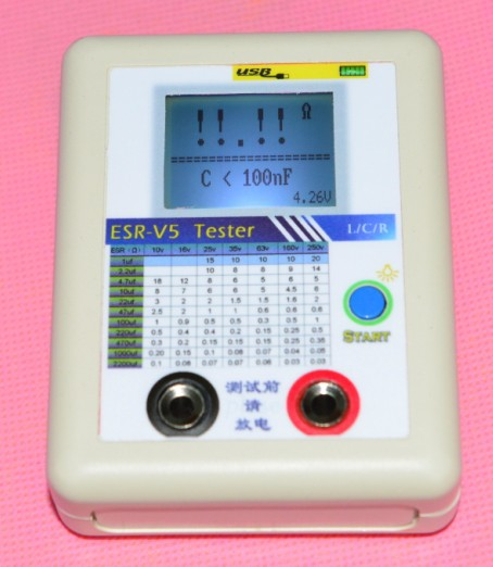 Free shipping, ESR-V5, Capacitor ESR Tester Internal Resistance Meter Test In Circuit