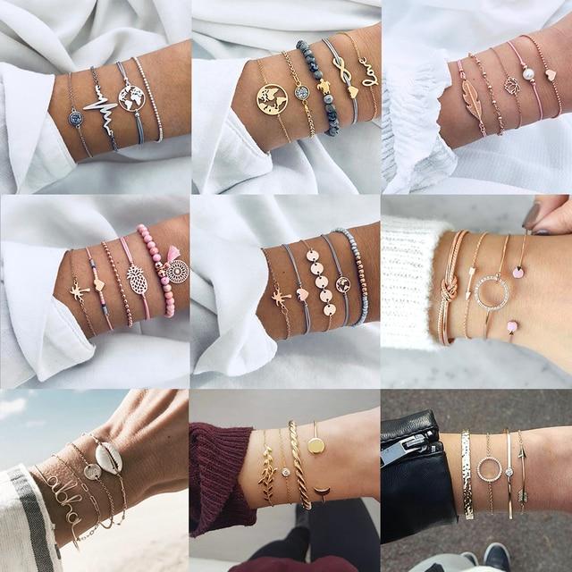 4 Pcs/ Set Classic Arrow Knot Round Crystal Multilayer Adjustable Open Bracelet Set Women Fashion Party Jewelry Multiple Styles