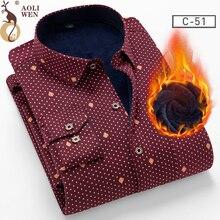AOLIWENM 2018 camisa de moda para hombre, blusa de invierno gruesa, con estampado cálido, de 26 colores, más terciopelo, nuevo cálido camisa
