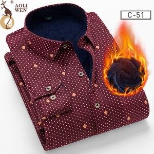 Image 1 - AOLIWENM 2020 moda erkek gömleği bluz erkek kış kalın sıcak baskı kafes 26 renk artı kadife kalınlaşma yeni sıcak gömlek