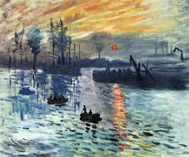 Landschaftsmalerei impressionismus  Sonnenaufgang 1872 durch Claude Monet Ölgemälde für Wohnzimmer ...
