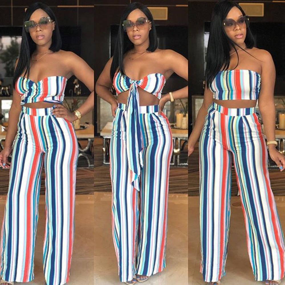 6a19d7a3a3 Aliexpress.com   Buy Summer Striped Strapless Top With Pants Fashion Women  Outfits Women Set from Reliable Women s Sets suppliers on WeVi Fashion Home