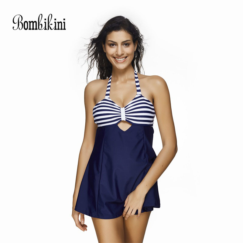 Navy Striped One Piece Swimsuit Hollow Out Swimwear Women Sexy Halter Neck Bathing Suit Backless Swimming Skirt S-3XL