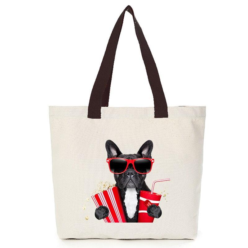 Origina cool dog series canvas custom tote bag customize eco bags diy logo shopping bag with logo  Dachshund Shepherd Dog Poodle (3)