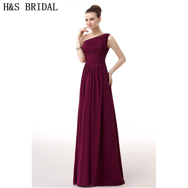 H&S BRIDAL Chiffon Burgundy One Shoulder evening dress 2017 Elegant ...