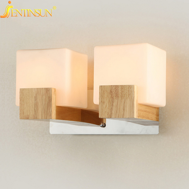 Modern Minimalist Wall Lamp Solid Wood Lamps Frosted Gl Oak Lights Indoor Home Lighting Fixtures Decoration Bedroom Sconce