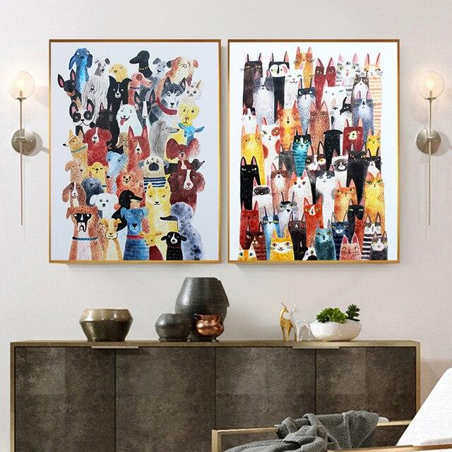 Nordic Katze Hund Leinwand Kunst Nette Tier Home Decor Cartoon Wand Malerei für Wohnzimmer Kinderzimmer Einzigartige Kindergarten Drucken und Poster