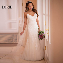 LORIE Romantic Mermaid Wedding Dress 2019 Spaghetti Straps Open Back Boho Bride Dress Elegant Lace Appliqued Beach Wedding Gown