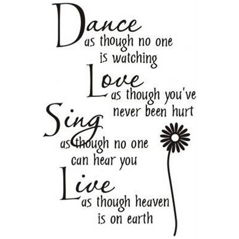 Dance Love Sing Live English Quotes Wall Stickers Sunflower Flower