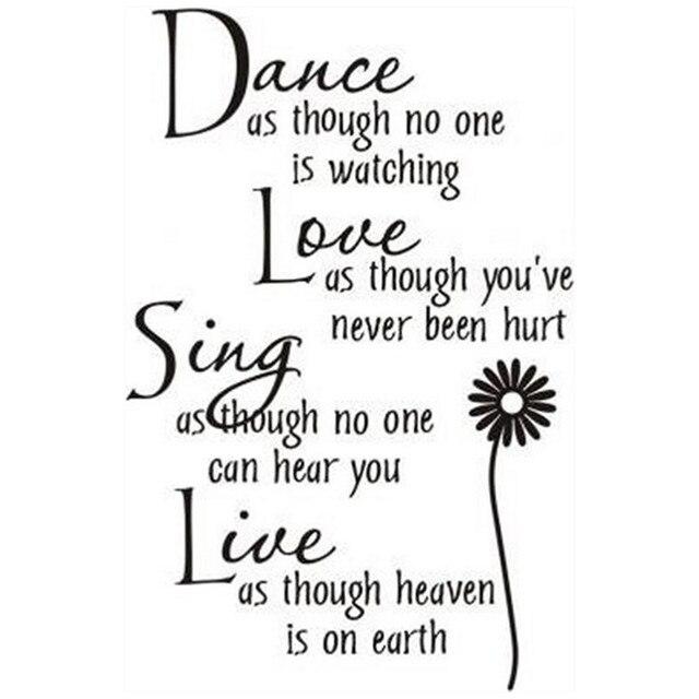 Taniec Miłość śpiewać żywo Angielski Cytaty Naklejki ścienne Kwiat