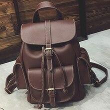 Мода кожаные рюкзаки женщины повседневная дамы студент школьные сумки для подростка девушки bolsos zaino донна плечо женщина back pack