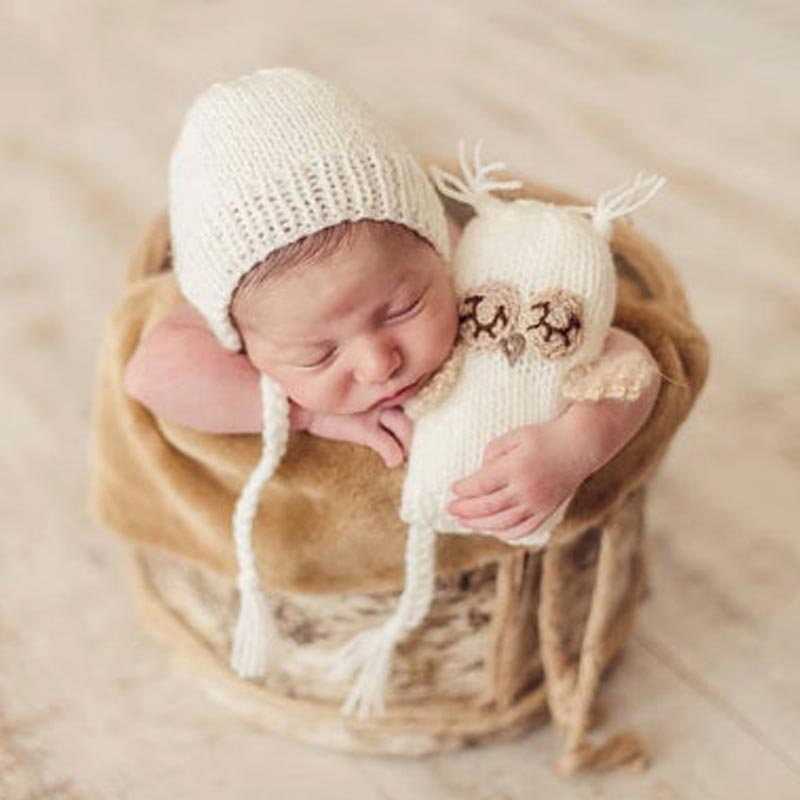 Newborn Photography Props Owl Hat And Doll  Baby Girl Boy Clothes Crochet Accessories  Infant Knitted Beanies Infant Clothing