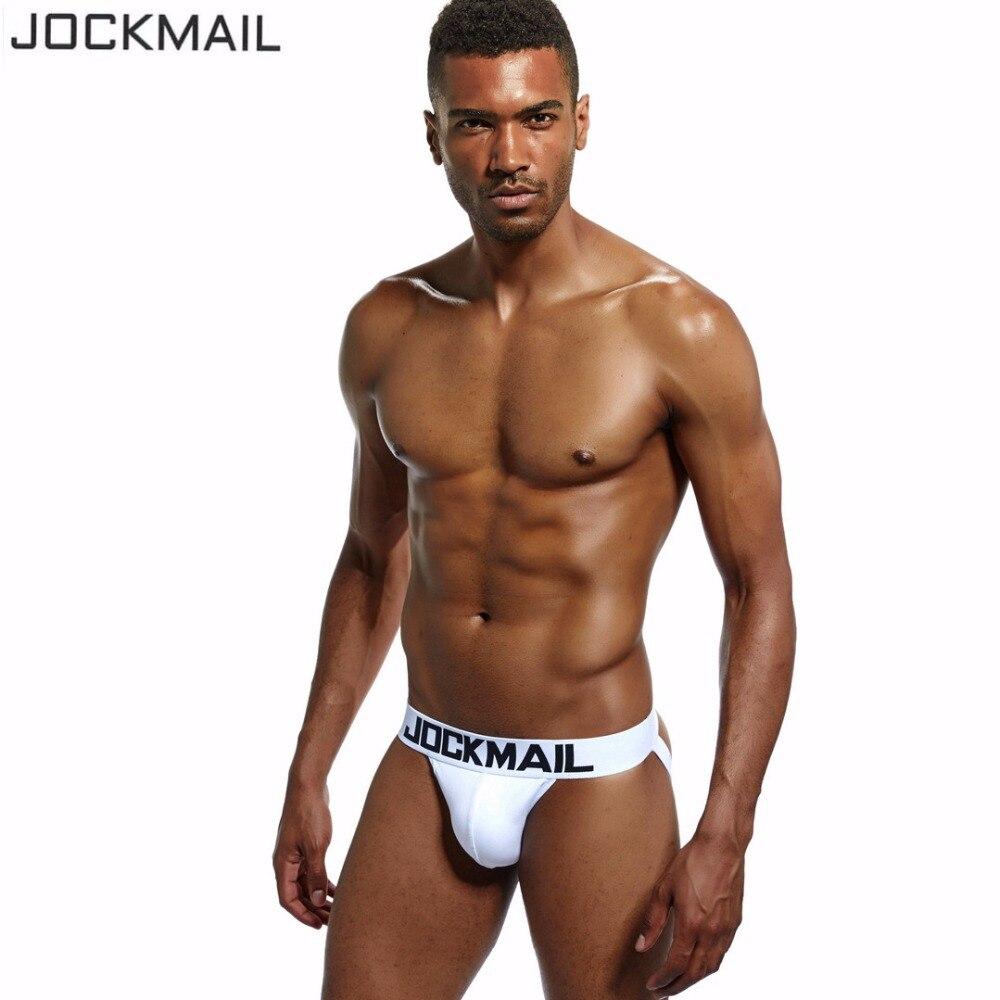 JOCKMAIL Brand Sexy Men Underwear Jock Straps Cotton G Strings Thong Gay Penis Low Rise Jockstraps Brief Bikini Backless Buttock