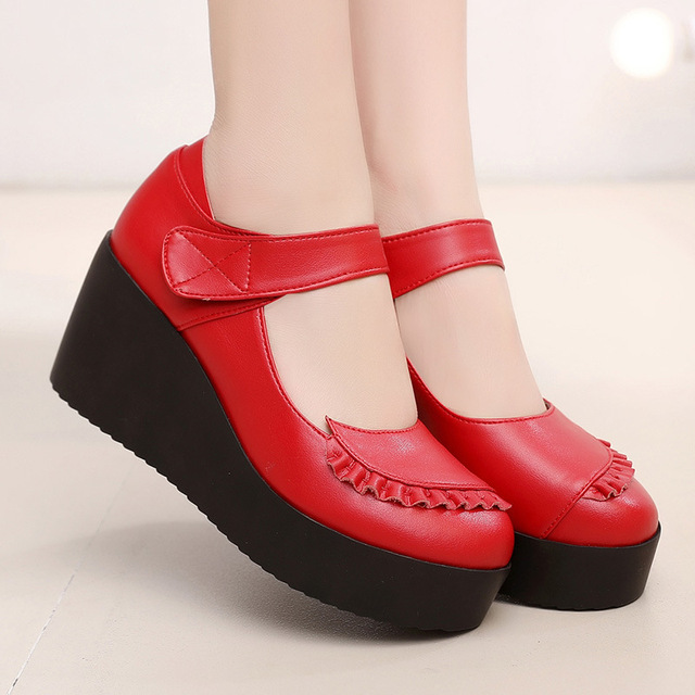 ec9a5449d7 Black Red Platform Wedges Shoes For Women Casual Mary Jane Shoes 2019  Spring Med Heel Pumps