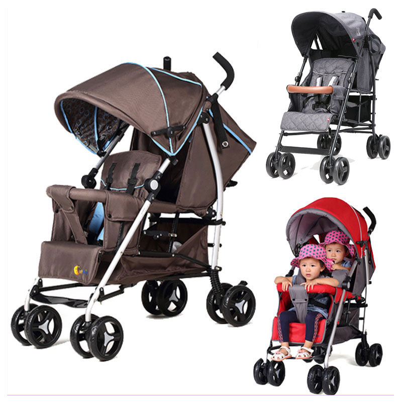 Can Sit Lying Twins Baby Stroller Lightweight Pram Folding Travel System Two Babies Double Stroller Cart Buggy Pushchair 1 M~4 Y y two p18 y1033