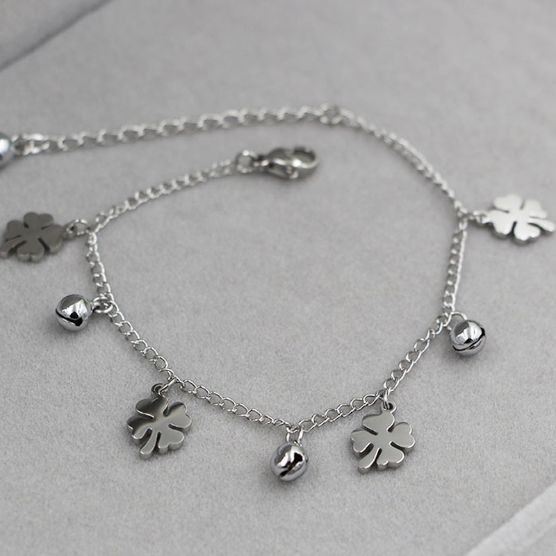New Arrival Flowers And Bell Anklets For Women Titanium Steel Gold Rose Gold Silver Colors Women Jewelry Anklets Wholesale 2