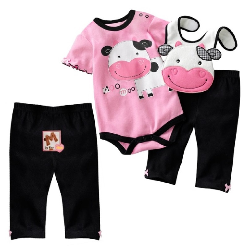 Hooyi 2017 Baby Girls Clothing Sets Milk Bodysuit Bibs