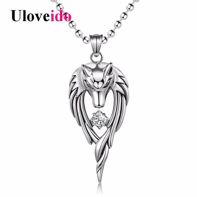 Uloveido anime wolf necklaces pendants stainless steel mens uloveido anime wolf necklaces pendants stainless steel mens pendant necklace men jewelry punk chain accessories aloadofball Image collections