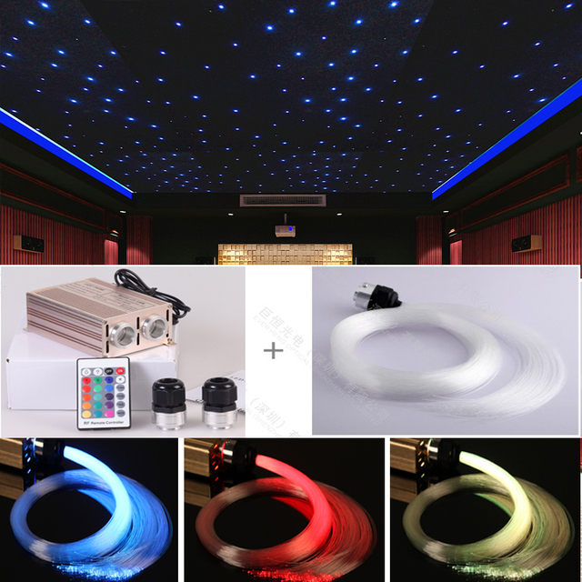 High 32w Fiber Optical Star Ceiling Light For Home Theater Cinema Decoration 2 X 500 Points 4 Meter