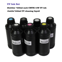 6+1 bottles Soft / Hard UV Currable Ink set For Epson for Roland for Mimaki Mutoh DX3 DX4 DX6 DX7 DX5 printhead UV Printer