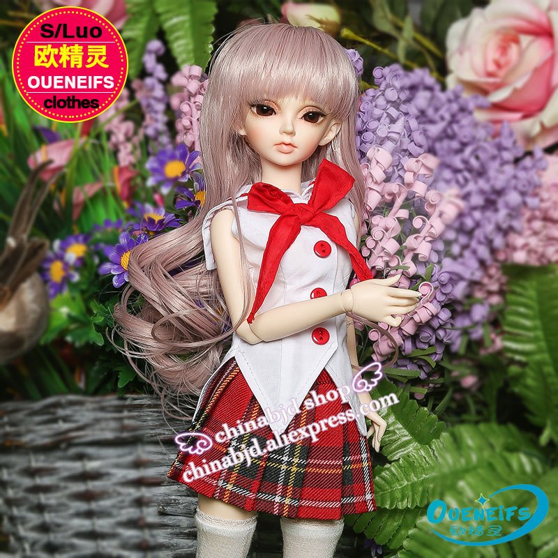 OUENEIFS girl dress fillibeg sleeveless blouse Plaid skirt  1/4 bjd sd baby clothes customization  ,have not bjd doll or wig oueneifs bjd clothe sd doll 1 4 clothes girl boy baby long hooded jumpsuit hyoma chuzzl send socks luts volks iplehouse switch