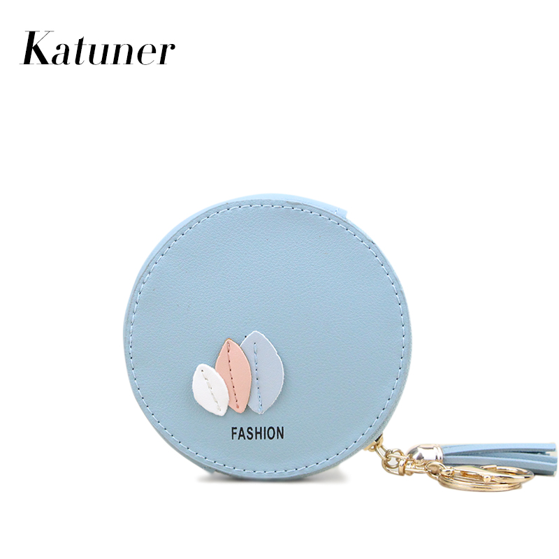 Katuner Fashion Tassel Women Coin Purse Sweet Leaves Kids Mni Key Wallet Female Card Money Bag Girls Purse Monedero Mujer KB054