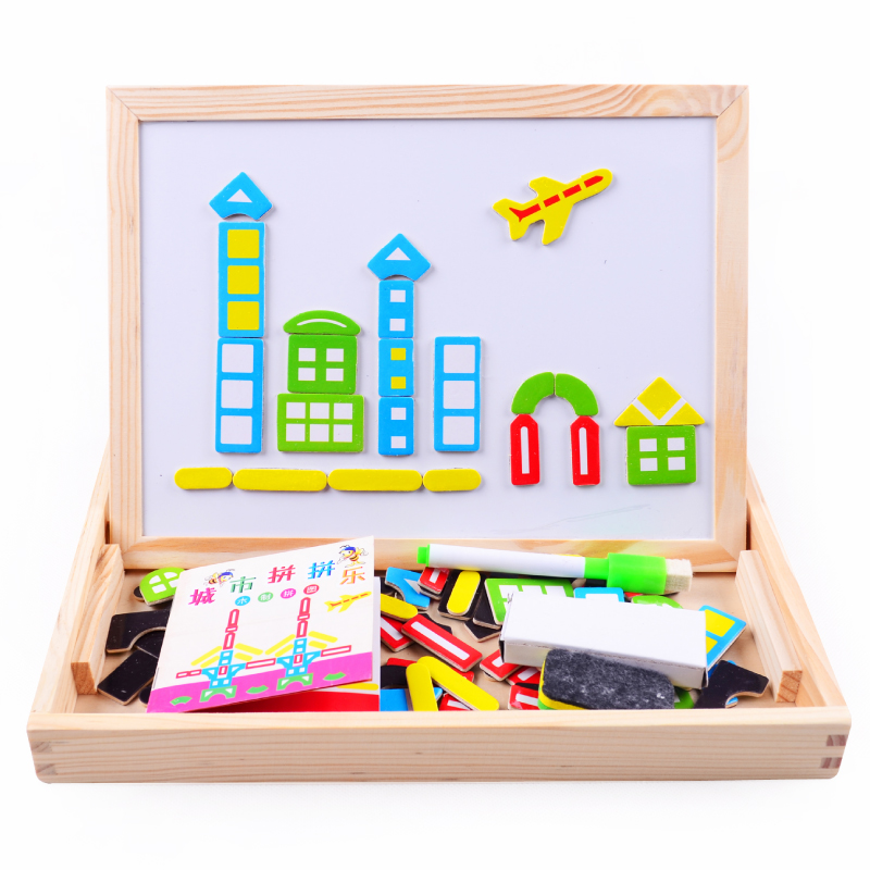 Wooden toyMultifunctional Educational Farm Jungle Animal Wooden Magnetic Puzzle Children Kids Jigsaw Baby s Drawing Board