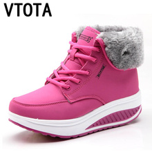 VTOTA Women Snow Boots Platform Wedges Warm Winter  Boots Ankle Boots For Women Botas Mujer Plush Lace Up Women Casual Shoes H19 цены онлайн