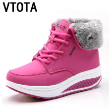 VTOTA Women Snow Boots Platform Wedges Warm Winter  Boots Ankle Boots For Women Botas Mujer Plush Lace Up Women Casual Shoes H19 zorssar 2018 new arrival warm plush snow boots women ankle boots high heel wedges platform boots autumn winter women shoes