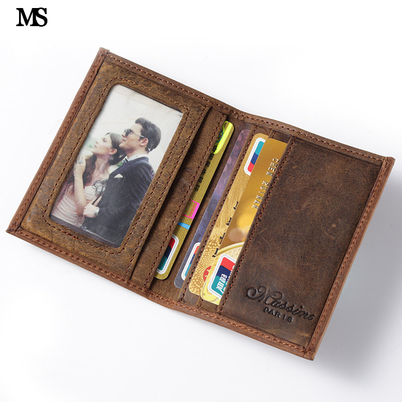 MS Hot Men Crazy Horse Genuine Leather Slim Wallet Business Casual Credit Card ID Holder Money Card Holder Purse Brown K100