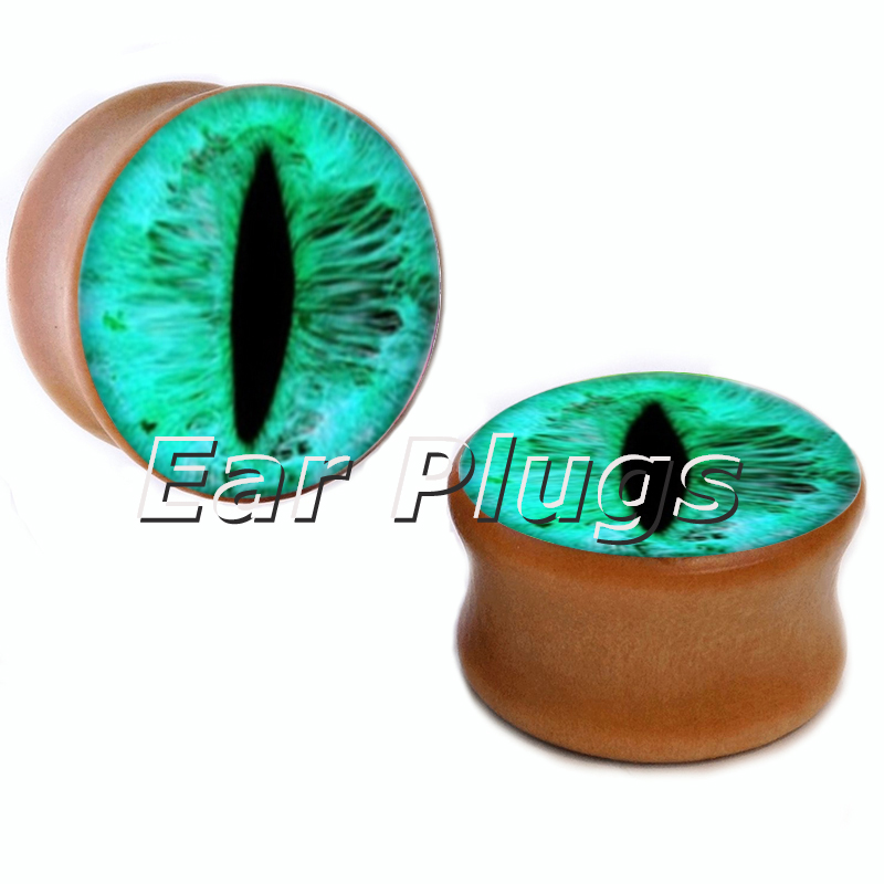 10 sizes green eyeball saddle plug gauges wood plugs wooden ear gauges flesh tunnel body piercing jewelry WSP0010