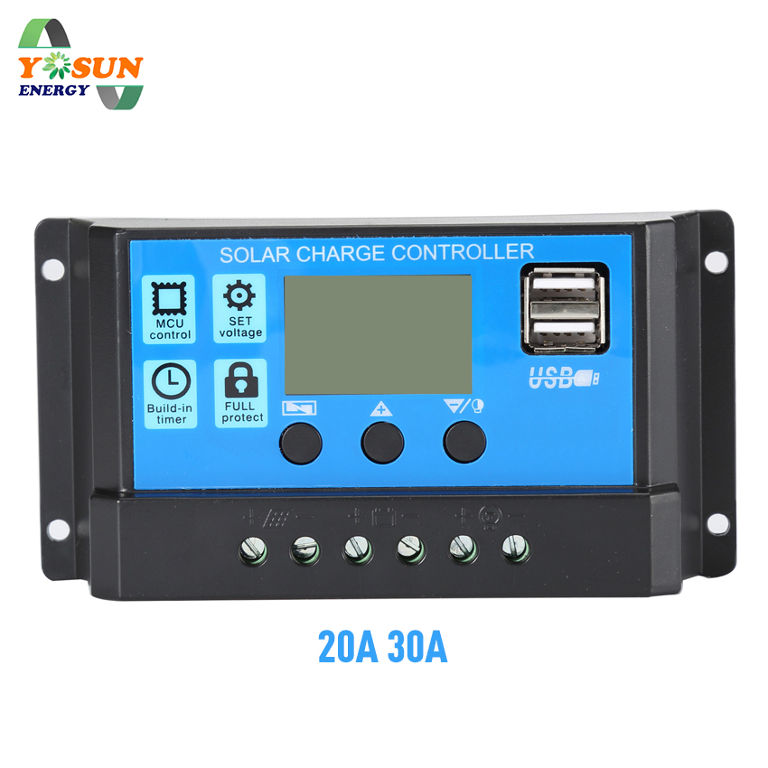 PWM Solar Charge Controller 30A 20A 12V 24V Auto Solar Battery Charger Solar PV Regulators With