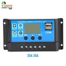 PWM Контроллер заряда 30A 20A 12 V 24 V Авто солнечное зарядное устройство солнечные регуляторы PV с ЖК-дисплеем двойной 5 V USB выход