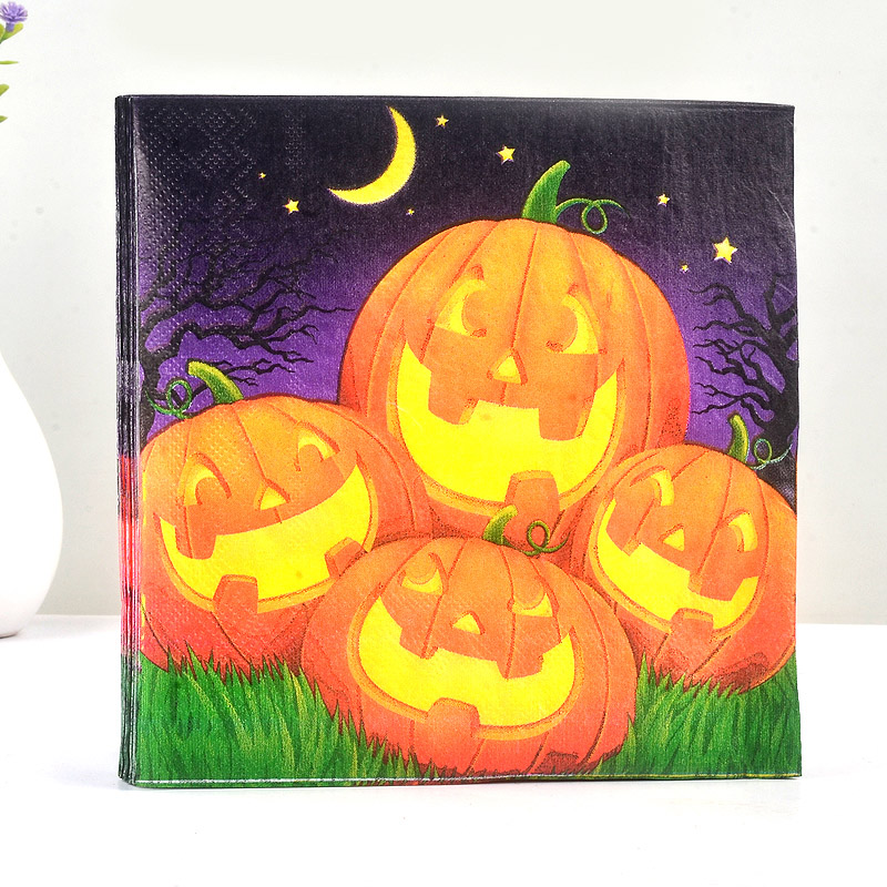 20PCS Paper Napkin 100% Virgin Wood Tissue Paper Napkins For Home Halloween Pumpkin Lights Night Party Decoration Gift